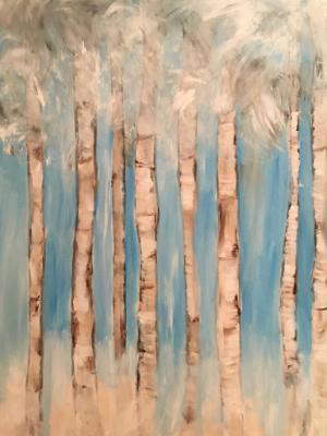 Birch trees in storm