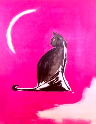Cat looking at Crescent Moon