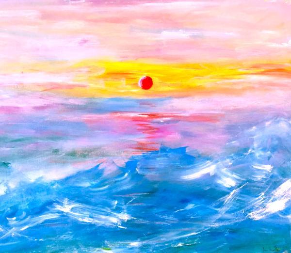 Sunrise over waves